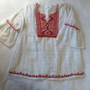 Jade Cotton embroidered shirt sleeve tunic.